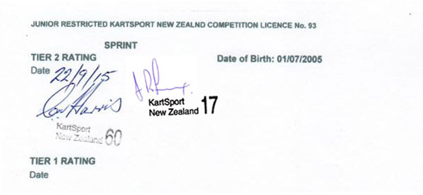 Licence Rating Signoff