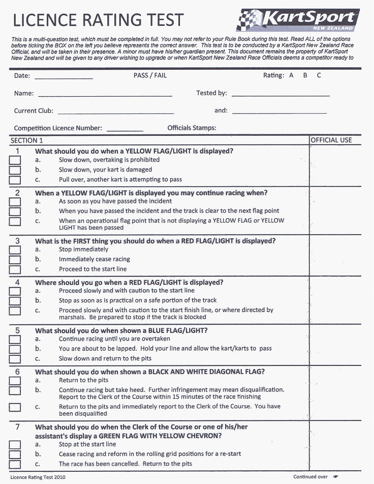 Licence Rating Test Page 1